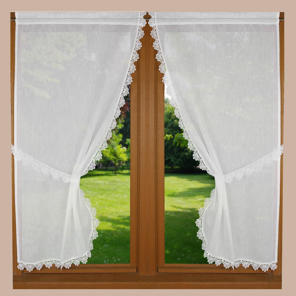 Voilages style rideaux bonne femme avec finition macram petit tradition - Rideaux bonne femme macrame ...