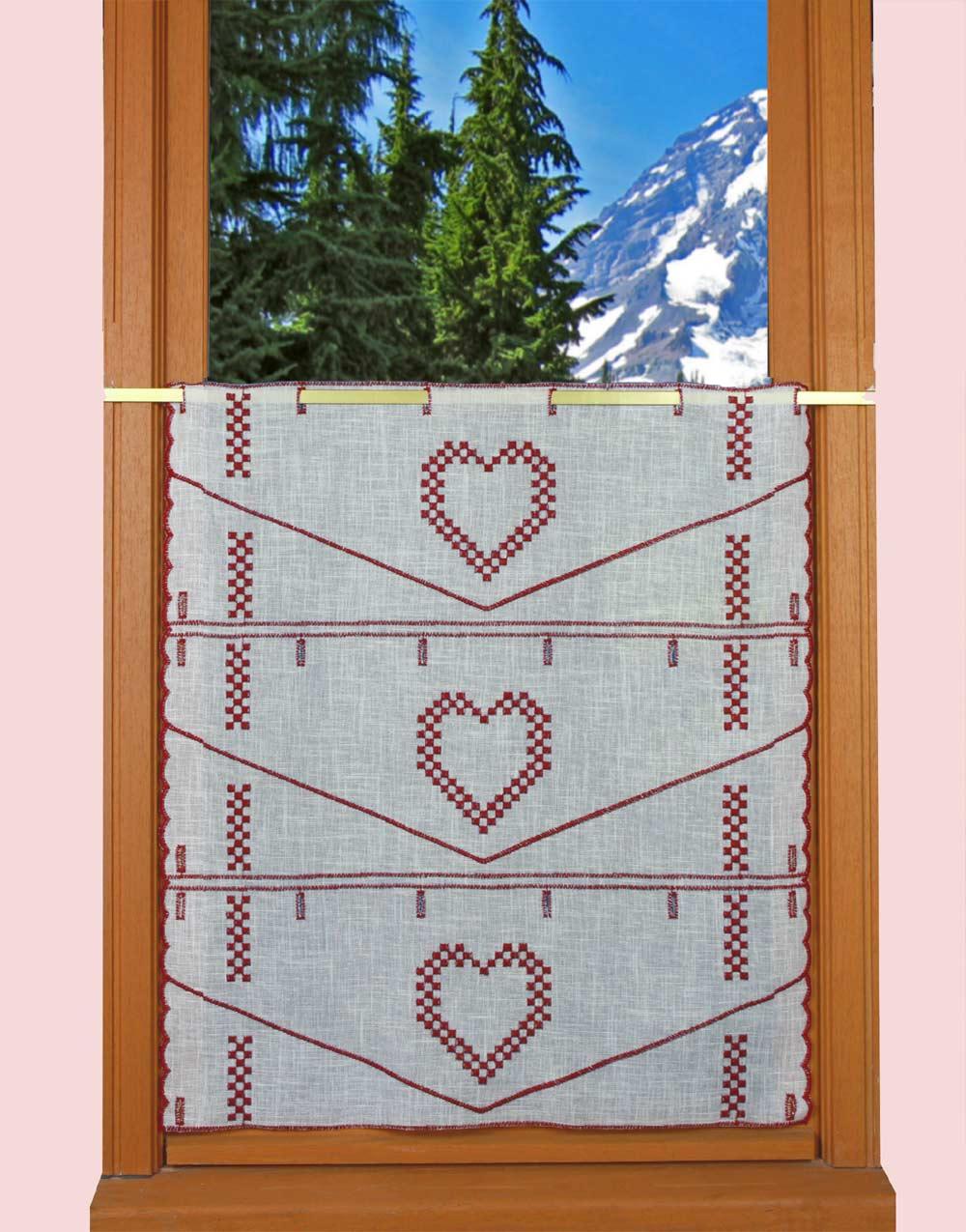 rideau brise bise coeur pour d co montagne. Black Bedroom Furniture Sets. Home Design Ideas