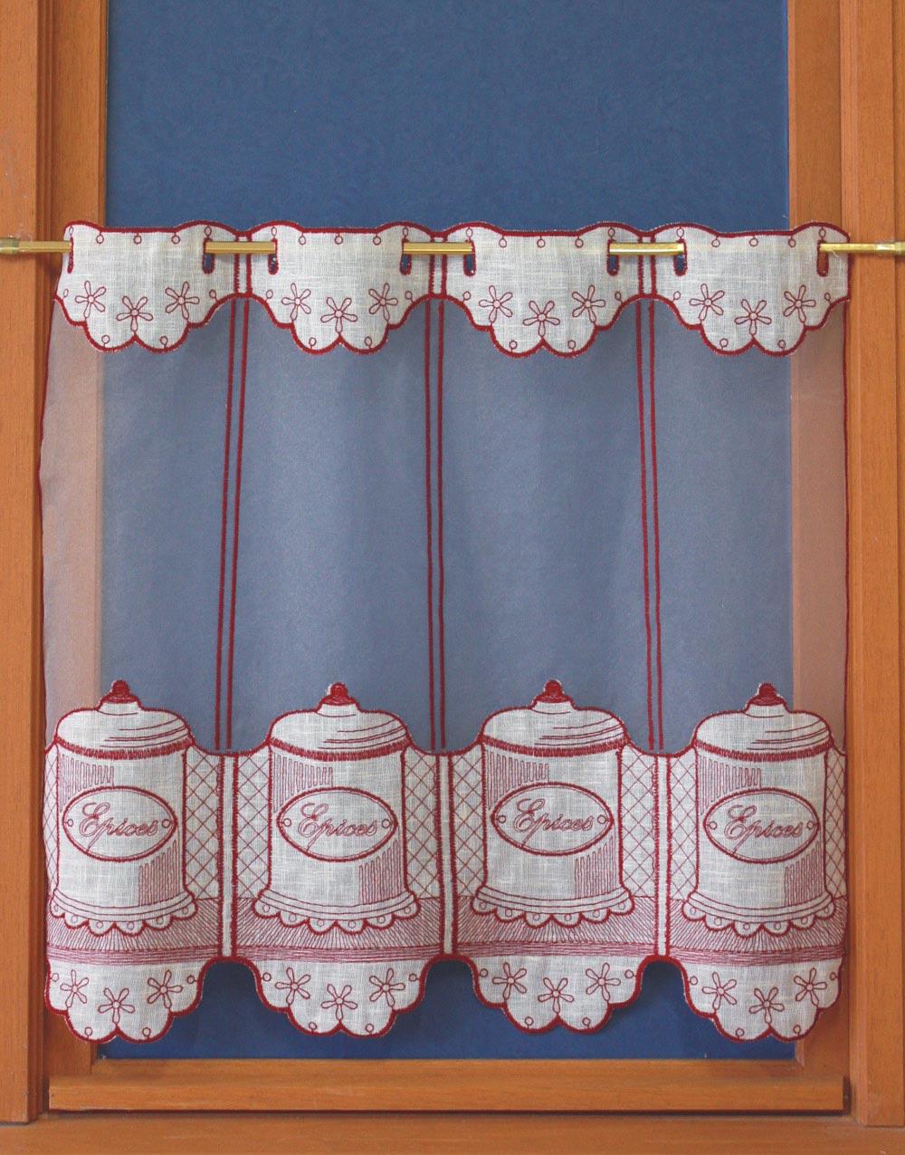 rideau de cuisine rouge et blanc