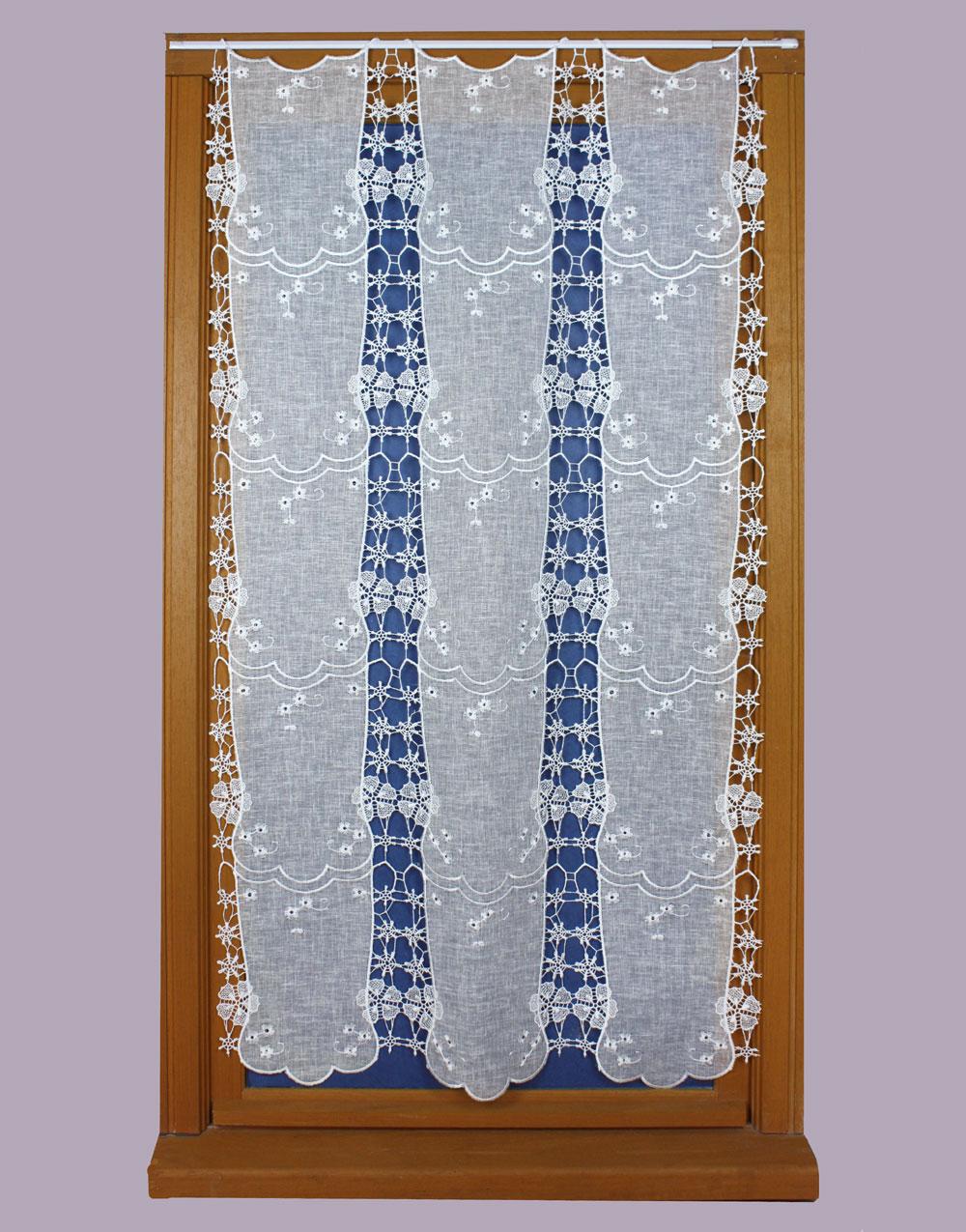 Rideaux macram avec application tissu tulle et lin - Rideaux bonne femme macrame ...