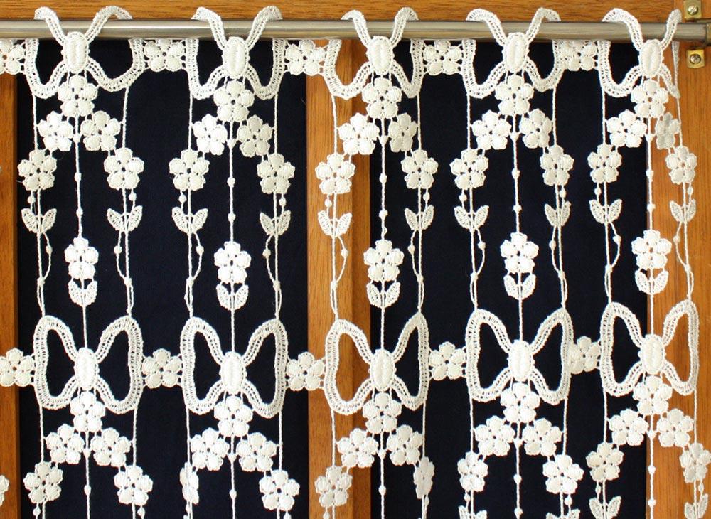 rideau en macram brod couleur paquerettes. Black Bedroom Furniture Sets. Home Design Ideas