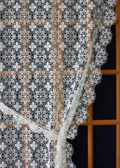 "Macrame Lace curtain  ""Amaryllis "".  Custom sizes available in natural..."