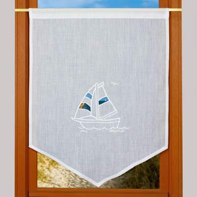 Rideaux de cuisine brise bise en voilage brod - Rideau style bord de mer ...